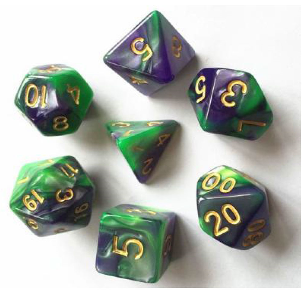 Elemental D20 Poly Dice set - Dark Purple / Green