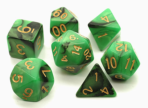 Elemental D20 Poly Dice set - Green / Black