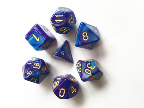 Elemental D20 Poly Dice set - Purple / Deep Blue
