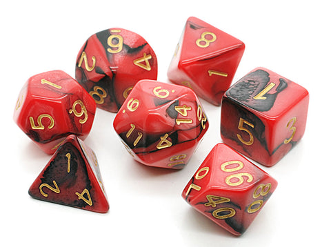 Elemental D20 Poly Dice set - Red / Black