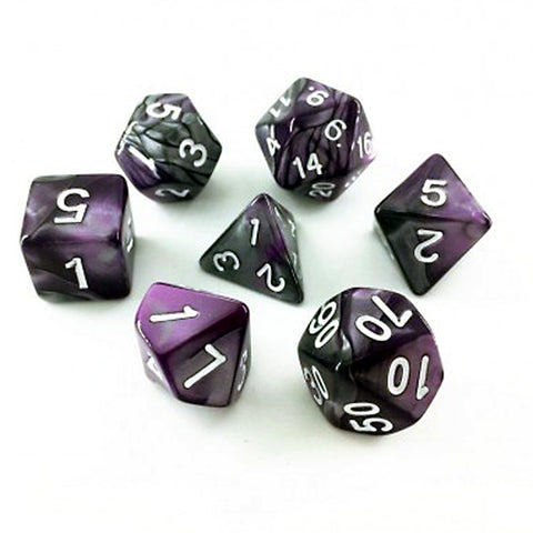 Elemental D20 Poly Dice set - Steel / Purple