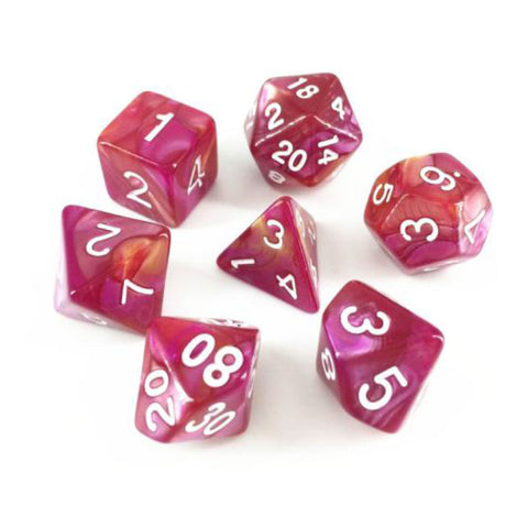 Elemental D20 Poly Dice set - Yellow /  Rose Pink