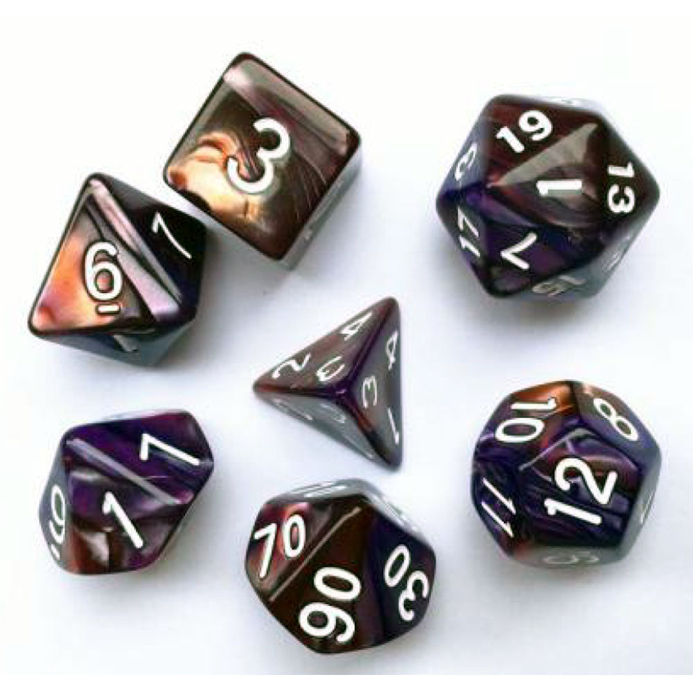 Elemental D20 Poly Dice set - Copper / Purple