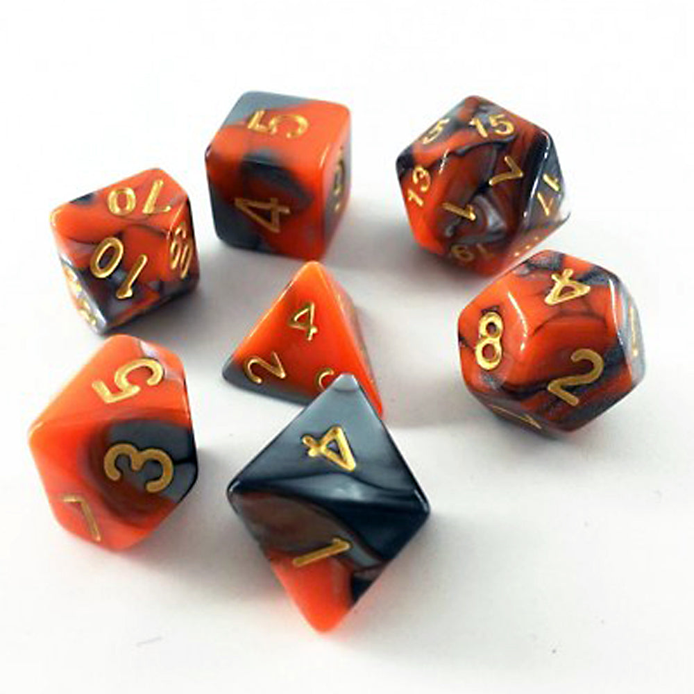 Elemental D20 Poly Dice set - Steel/Orange