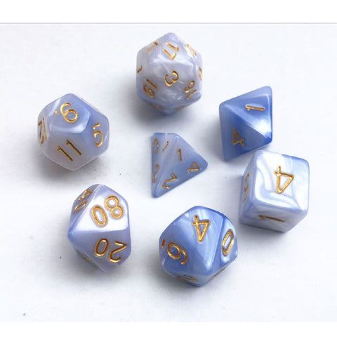 Elemental D20 Poly Dice set - White/ Blue