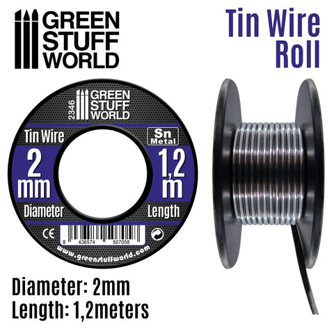 Flexible tin wire for making cables, pipes, ropes and braided features. It can also be used for creating flexible sculpting armatures. This material can be used to make electric welds and to melt. Easy to cut.  Thickness: 1mm Length: 5m Approximate weight: 38gr.
