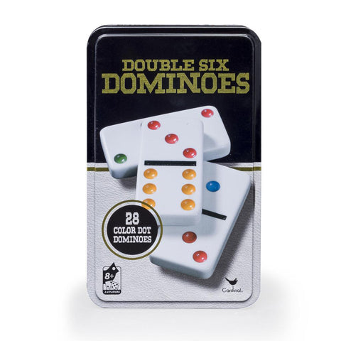 Classic Double 6 colour Dominoes in black & gold tin