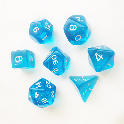 Gem D20 Poly Dice set - Light Blue