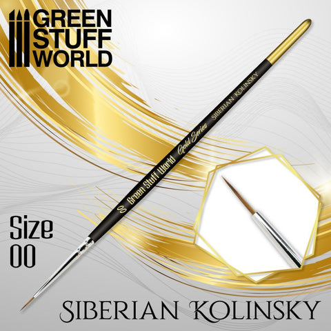 Size 00 -GOLD SERIES Siberian Kolinsky Brush- Green Stuff World