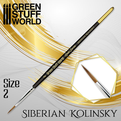 Size 2 -GOLD SERIES Siberian Kolinsky Brush- Green Stuff World