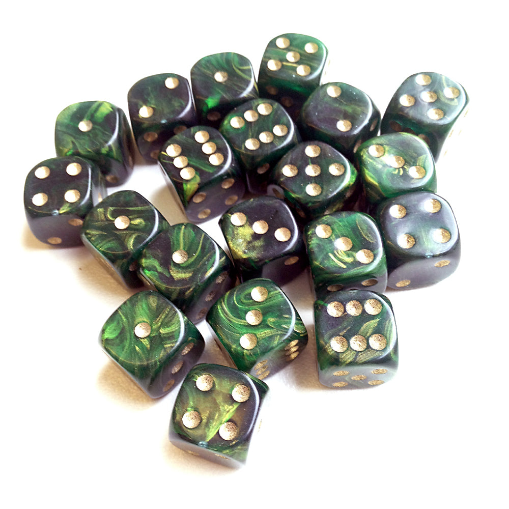 D6 - 15mm GOLD MIST Green (10)