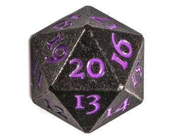 Solid Metal Spindown D20 Dice Gun Metal Grey with Purple