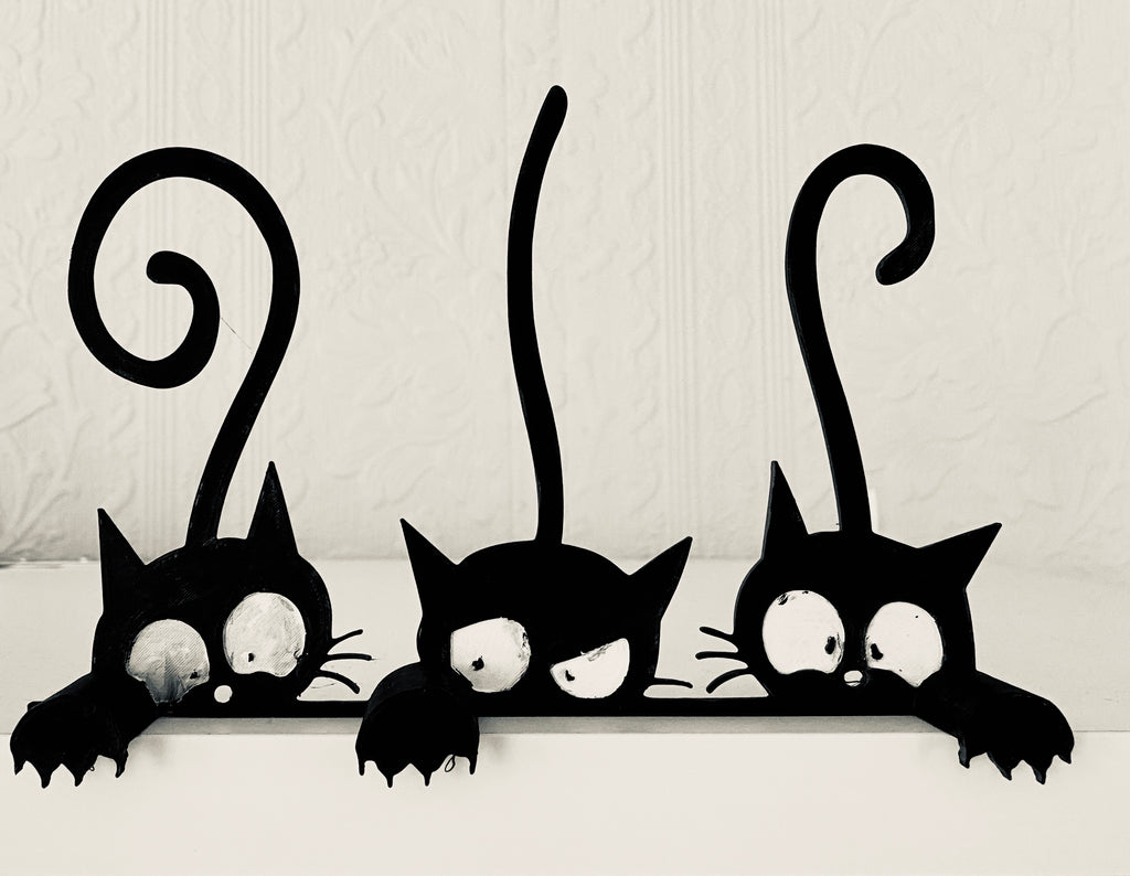 Black Cat Shelf Decoration - set of 3- Halloween Decoration