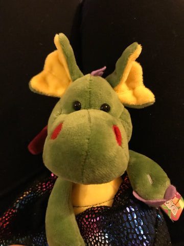 GREEN BABY DRAGON IN MULTI COLOURED EGG 20CM SOFT PLUSH TOY