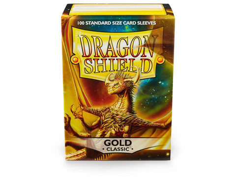Dragon Shield Classic Gold - 100 Standard Size Card Sleeves: www.mightylancergames.co.uk