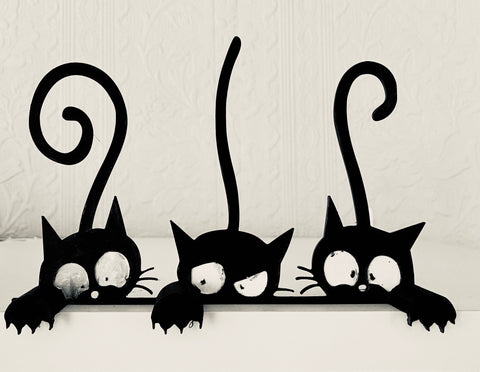 Dark Grey Kitten Shelf Decoration - set of 3- Halloween Decoration