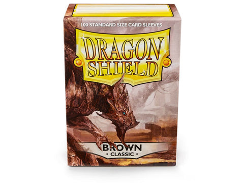 Dragon Shield Classic Brown  – 100 Standard Size Card Sleeves. www.mightylancergames.co.uk