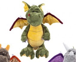 Green Dragon with burgundy wings and yellow accents 32CM