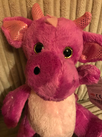 Pink Plush Dragon  8.5""