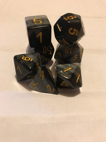Rainbow D20 Poly Dice set - Obsidian