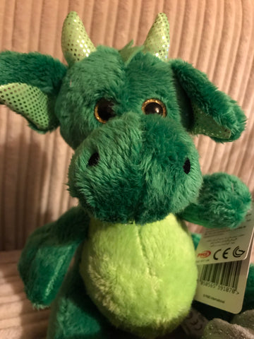 GREEN PLUSH DRAGON 8.5""