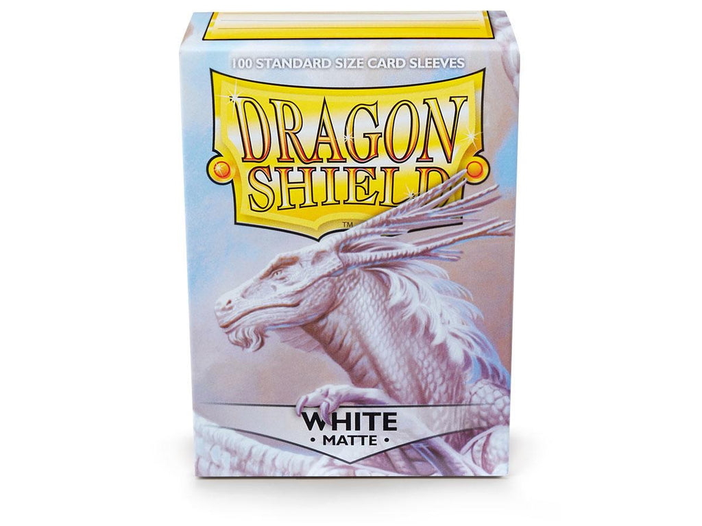 Dragon Shield Matte White  – 100 Standard Size Card Sleeves. www.mightylancergames.co.uk