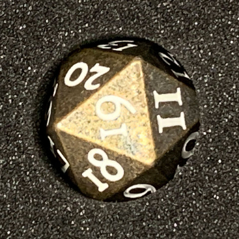 Solid Metal Spindown D20 Dice Gunmetal gold