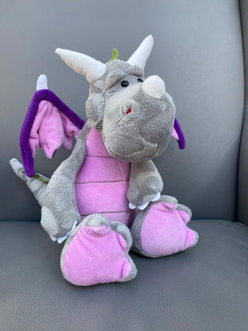 Light grey dragon with pink wings and pink accents 32CM