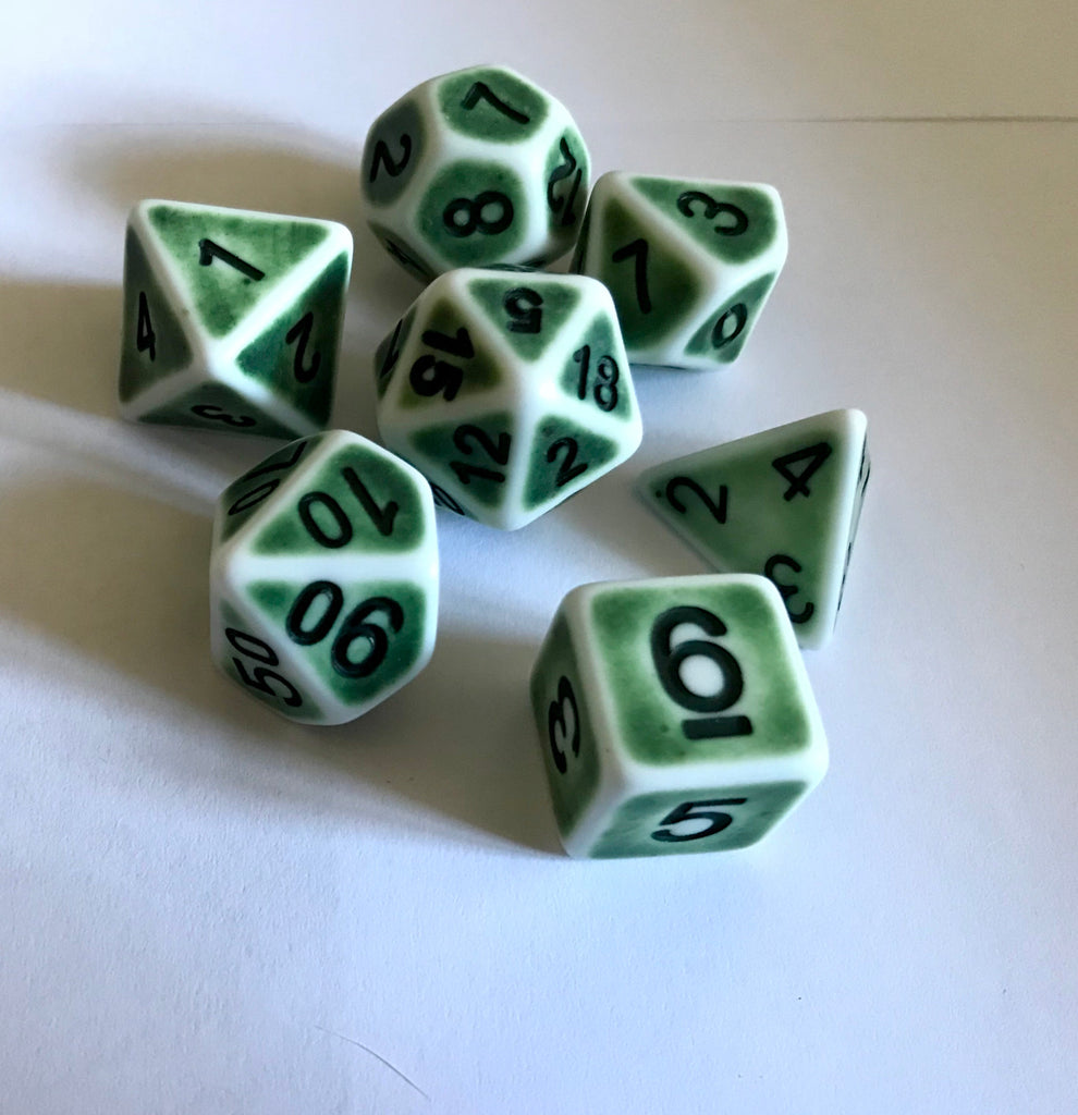 Ancient Dice Set D20 Poly Dice set - GREEN