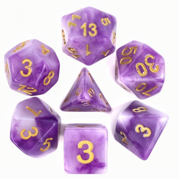 Jade Dice D20 Poly Dice set - PURPLE