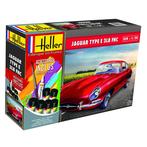 Jaguar E Type 3L8 FHC- Heller 1:24 Gift Set: www.mightylancergames.co.uk