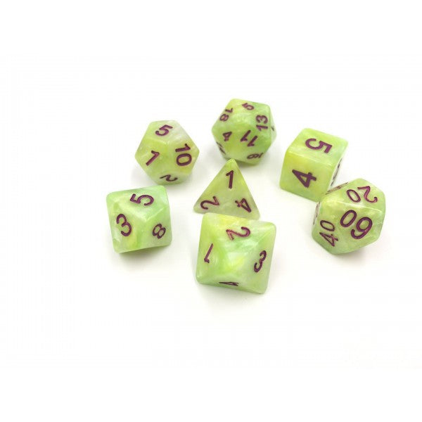 HD Marble Dice Set D20 Poly Dice - Meadowstone
