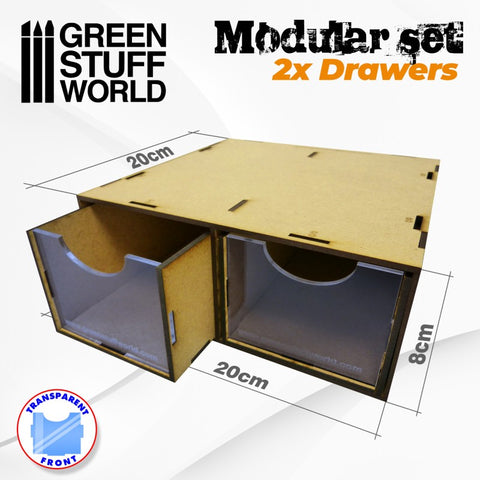 Paint Rack Modular Set 2x Drawers -2169- Green Stuff World