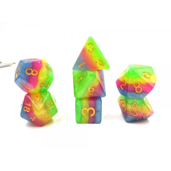 Rainbow Dice Set - NEON UNICORN