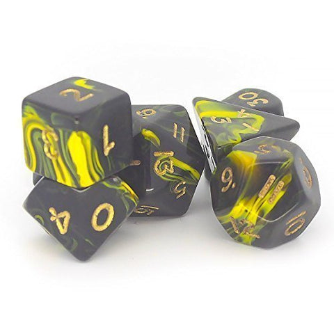 Oblivion D20 Poly Dice set - Yellow