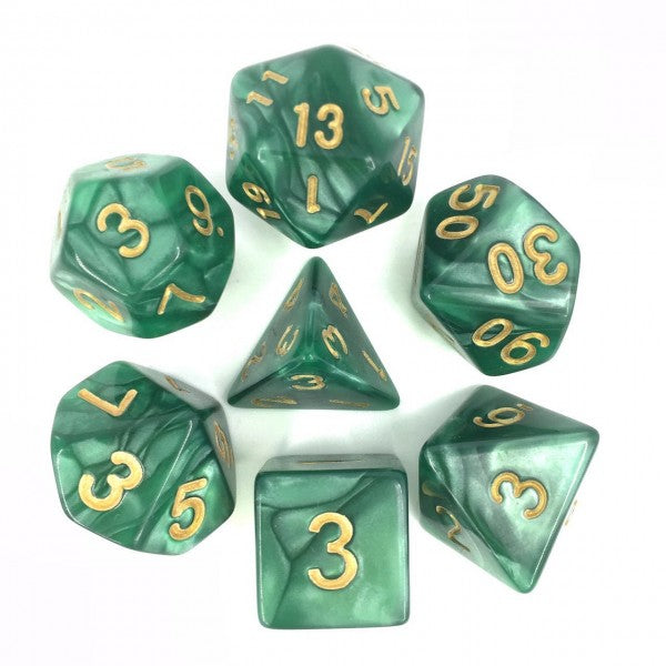 Pearl Dice Set D20 Poly Dice set - GREEN/GOLD