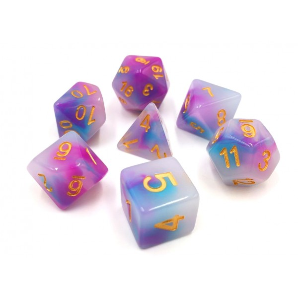 Opal D20 Poly Dice set - Pale Blue & Purple