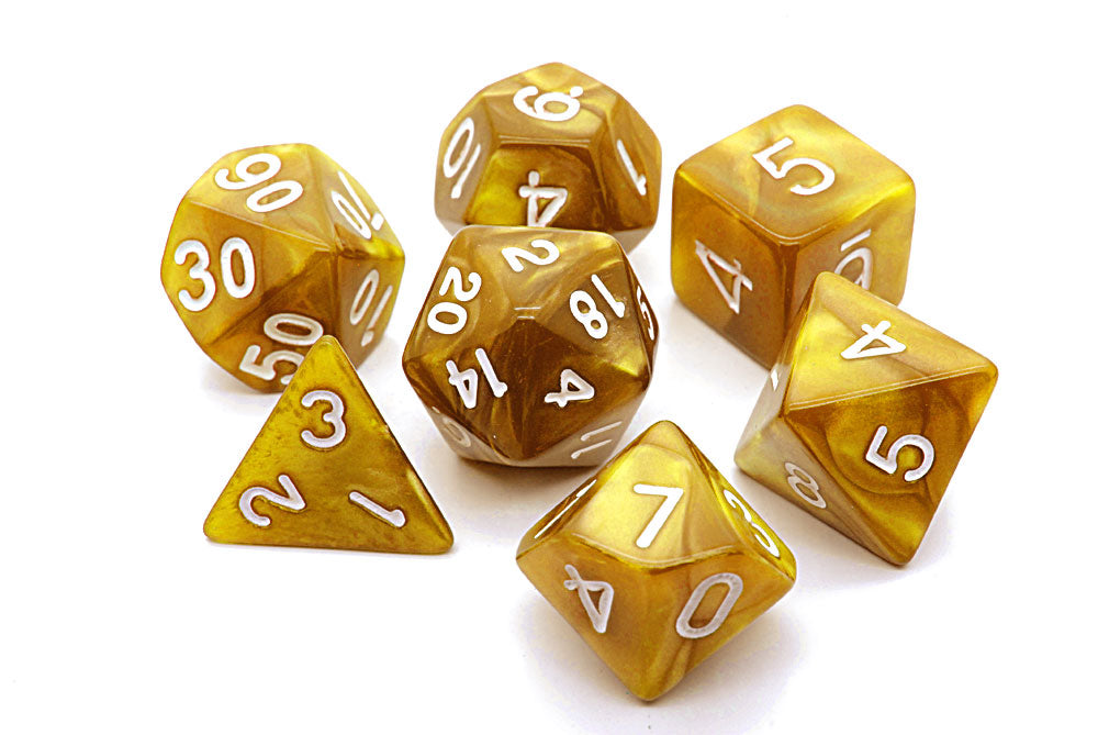 Pearl D20 Poly Dice set - Gold / White
