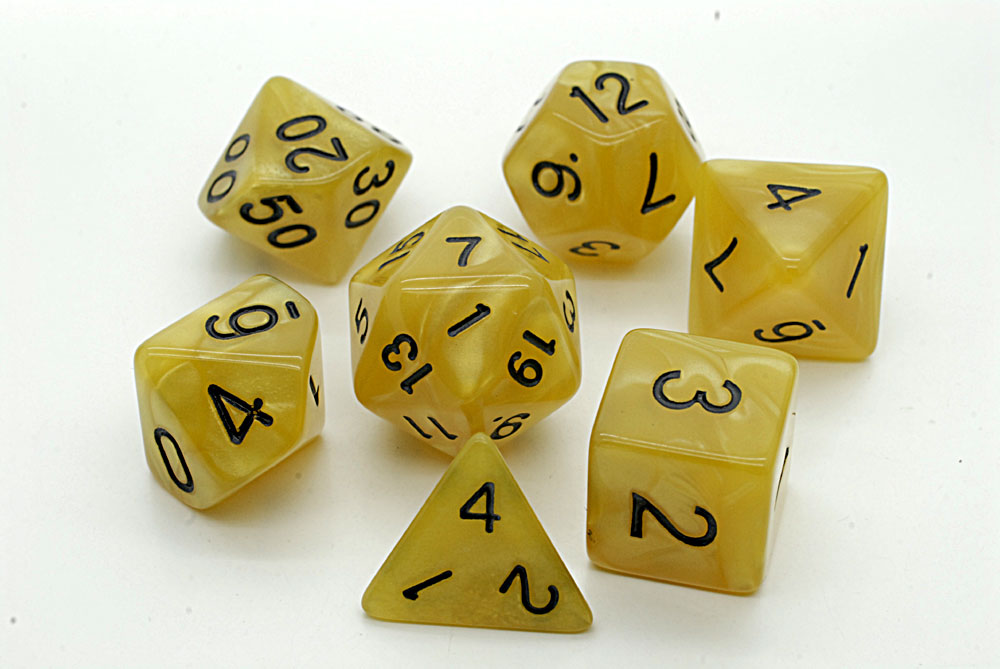Pearl D20 Poly Dice set -Golden Yellow / Black