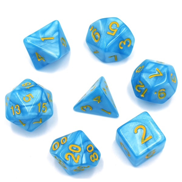 Pearl D20 Poly Dice set -Light Blue / Yellow