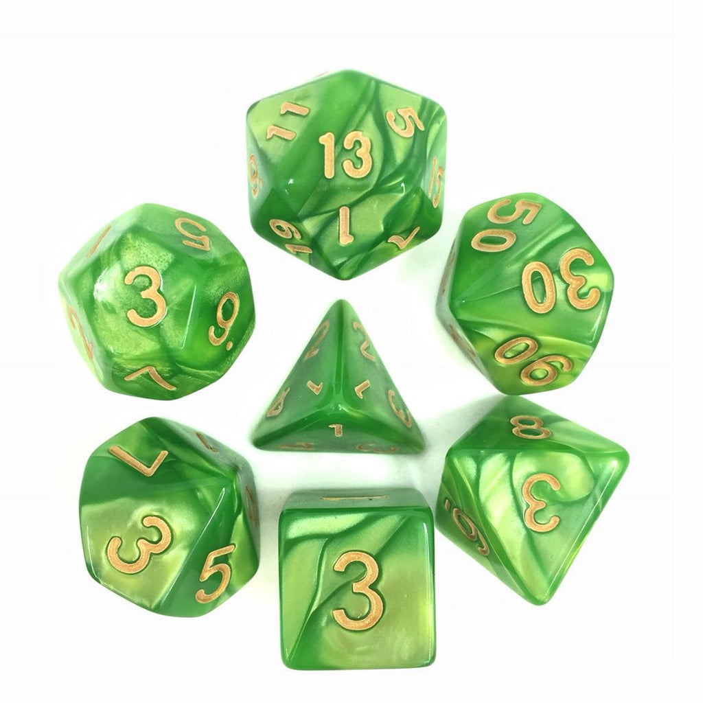 Pearl Dice Set D20 Poly Dice set - LIGHT GREEN/GOLD