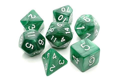 Pearl D20 Poly Dice set -Green/ White Numbers