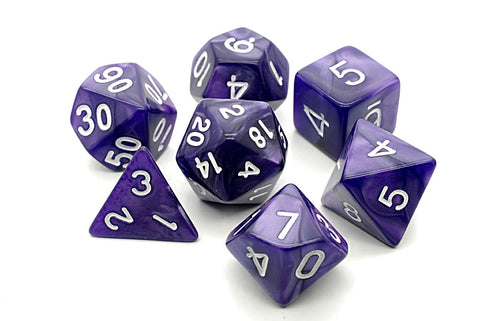 Pearl D20 Poly Dice set -Purple/ White Numbers