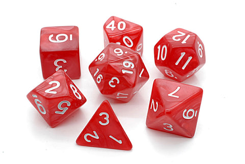 Pearl D20 Poly Dice set -Red/ White Numbers
