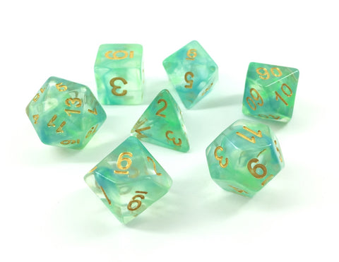 Storm Dice Set D20 Poly Dice set - Green/ Blue