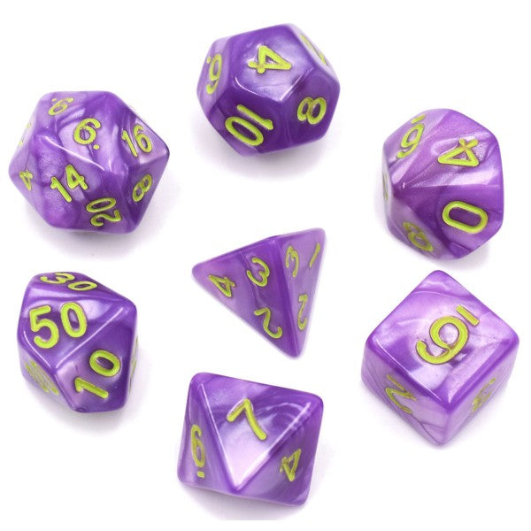Pearl D20 Poly Dice set - Light Purple / Green