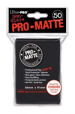 50ct Pro-Matte Black Standard Deck Protectors Sleeves (66mm x 91mm)