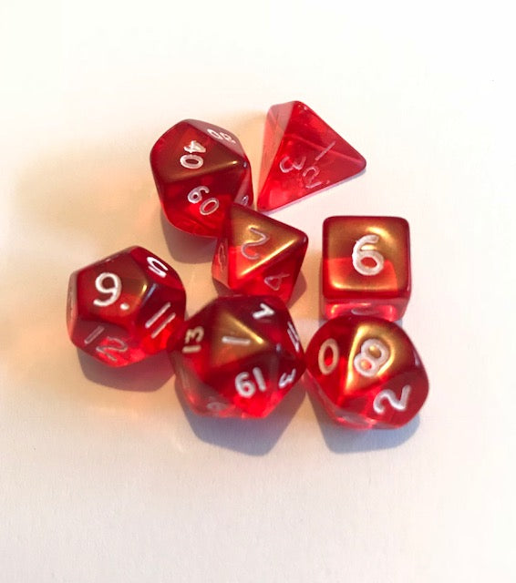 Mini Poly Dice set - Gem Red