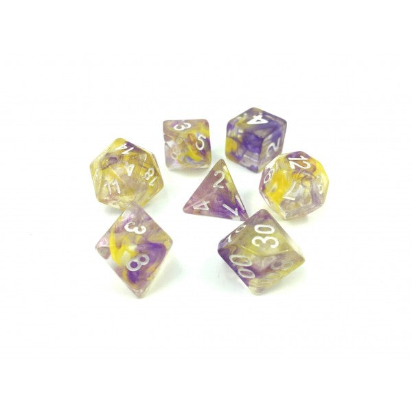 Storm D20 Poly Dice set - Yellow Purple