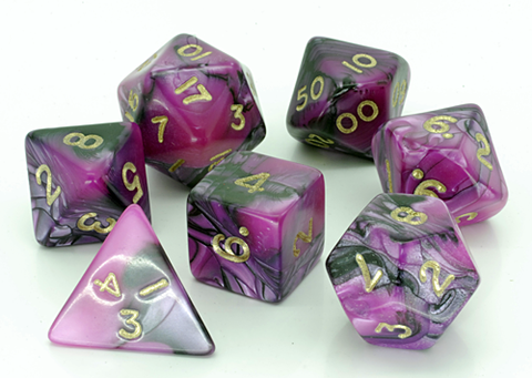 Toxic D20 Poly Dice set - Pink with Black